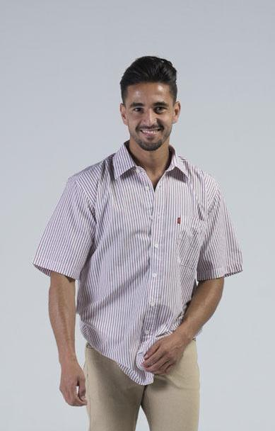 American Brand OEM  White & Red Men's Half Sleeves Casual Shirt