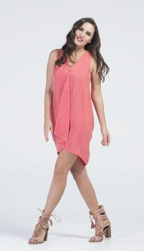 Coral Crush Asymmetrical Tunic Dress