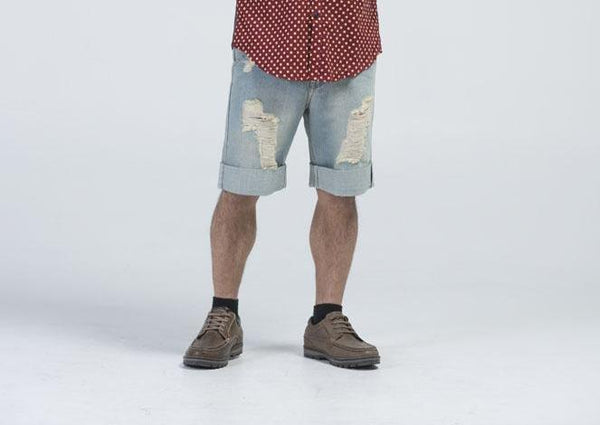 Alexander Wang Blue Men's Distressed Shorts