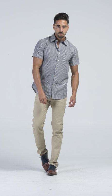 American Eagle Outfitters Mens Casual Shirt - Greyish-Blue