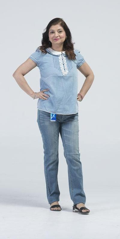 Cap Sleeve, Lace embellished Denim summer shirt - Cerulean Blue