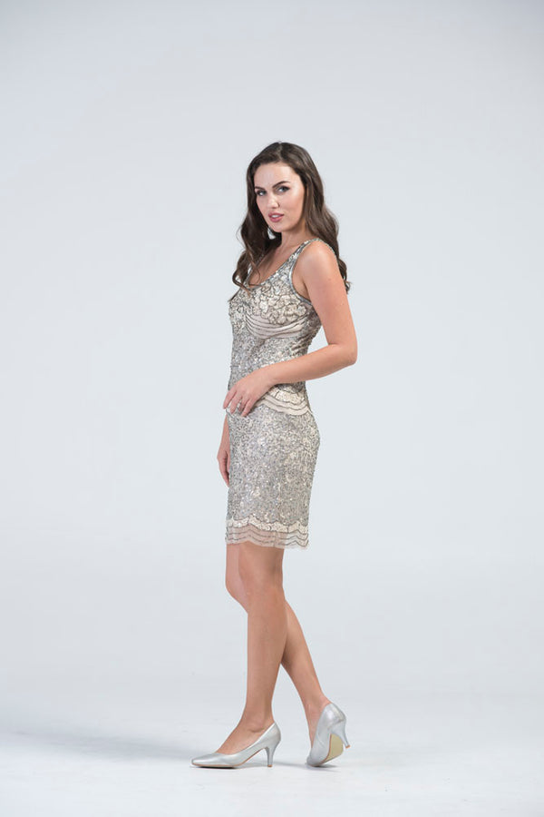 BARUMAASA Ivory White Sequin Embellished Cocktail Dress