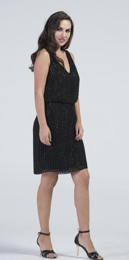 BARUMAASA Black Sequin Blouson Dress