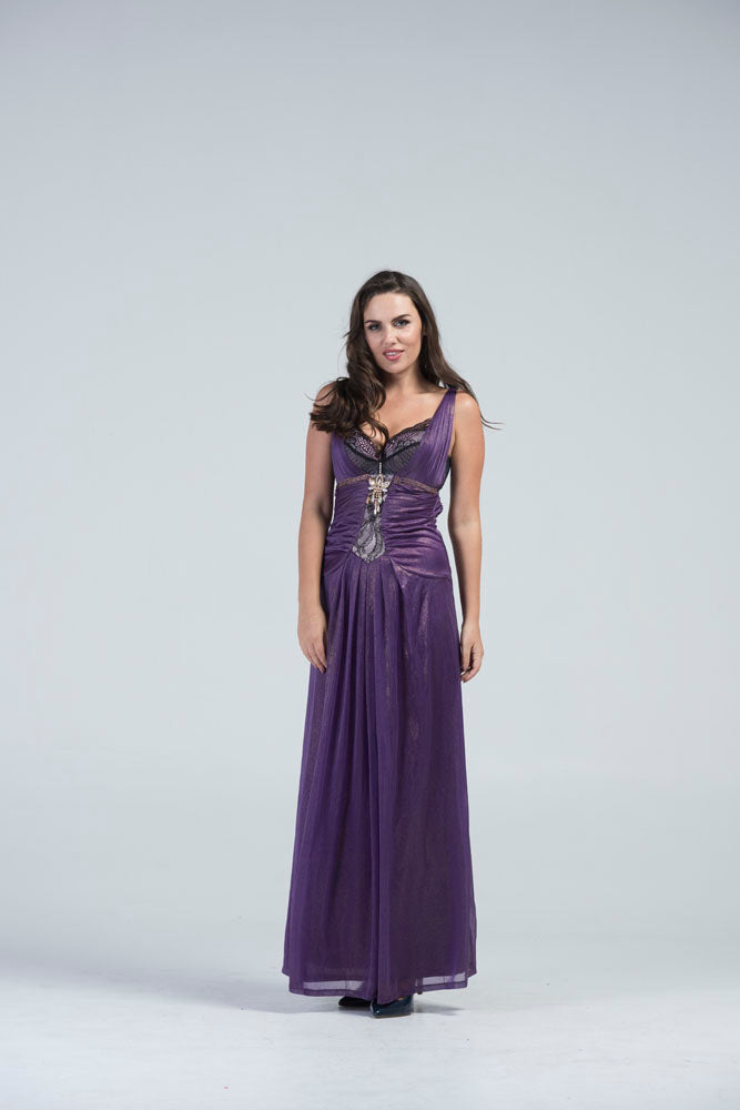 Kadi Imperial Purple Ruched Corset Evening Gown | YZ Buyer
