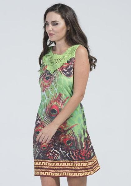 Lime Green Peacock Feather Tunic Dress