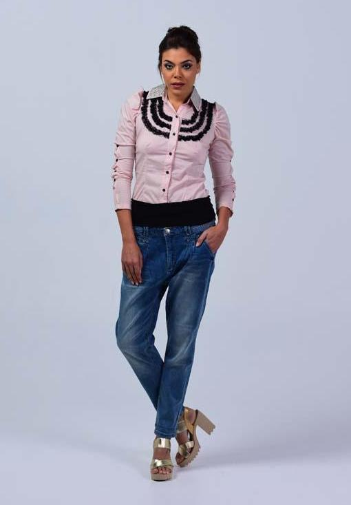 Full Sleeve Button up shirt with crystal embellished collar - Baby pink - Women Shirts - yz-buyer.myshopify.com