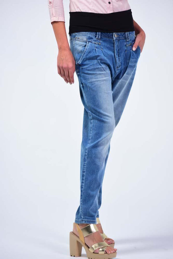 Top European Brand OEM, Tapered/Slim fit, worn look Jeans - Royal Blue - Women Jeans - yz-buyer.myshopify.com