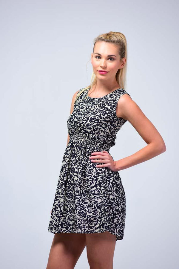 Retro Style Black & White English Roses Skater Dress - Women Dresses - yz-buyer.myshopify.com