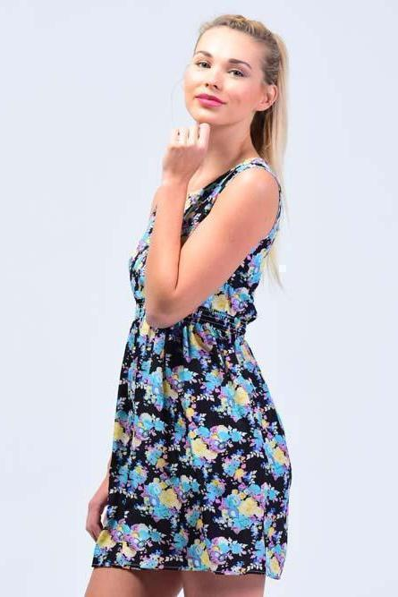 Black Oasis Floral Printed Skater  Dress - Women Dresses - yz-buyer.myshopify.com