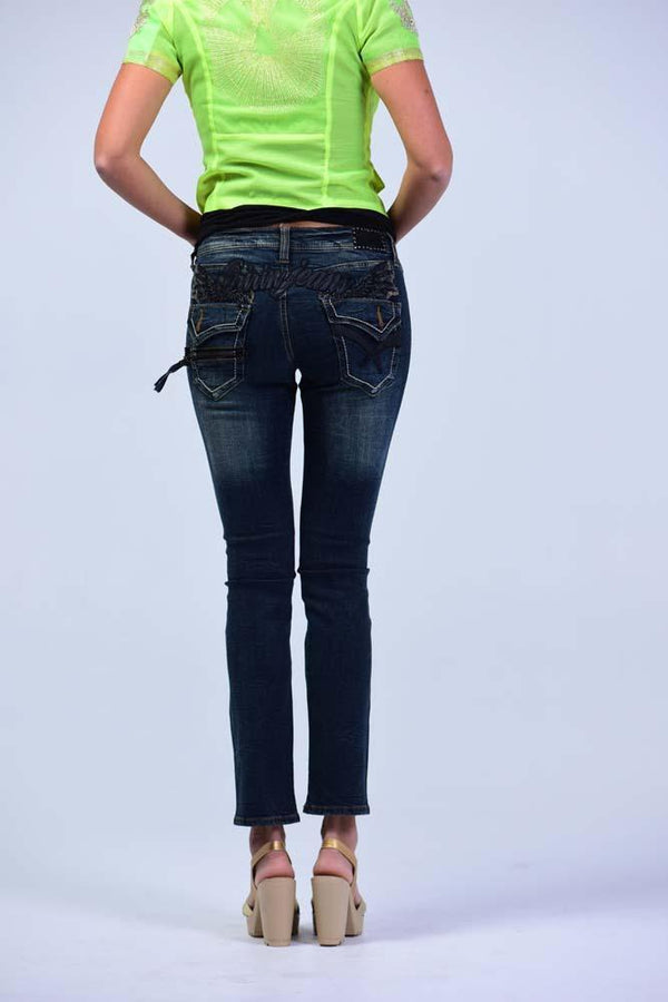 Oririn Lived-in Look, Slim-fit Jeans - Royal Blue - Women Jeans - yz-buyer.myshopify.com