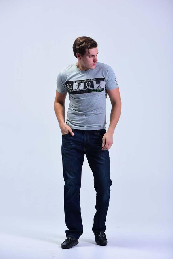 Crew Neck Short Sleeve Regular T-Shirt - Cloud Grey with printed front - Men T-Shirts - yz-buyer.myshopify.com