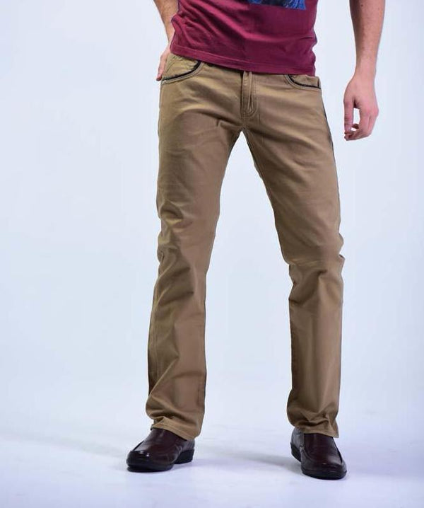 Root Three Style Slim fit Denims with Black leather lining - Beige Khaki - Mens Jeans - yz-buyer.myshopify.com