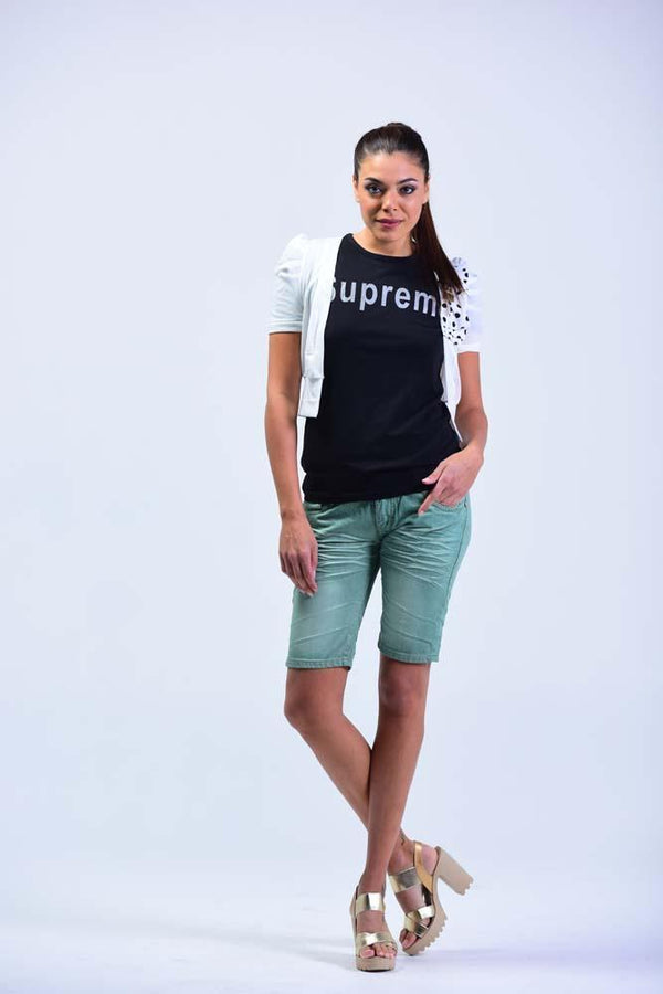 Top Italian OEM Brand Denim Shorts - Blue Green - Women Shorts - yz-buyer.myshopify.com