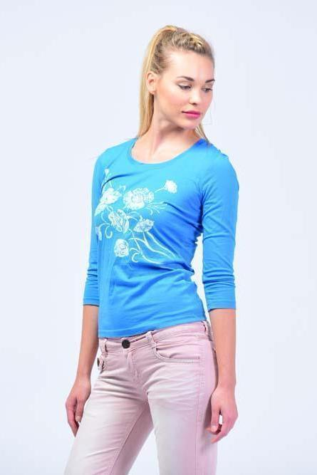 Full Sleeve Round Neck Printed flower T-Shirt - Cerulean Blue - Women T-Shirts - yz-buyer.myshopify.com