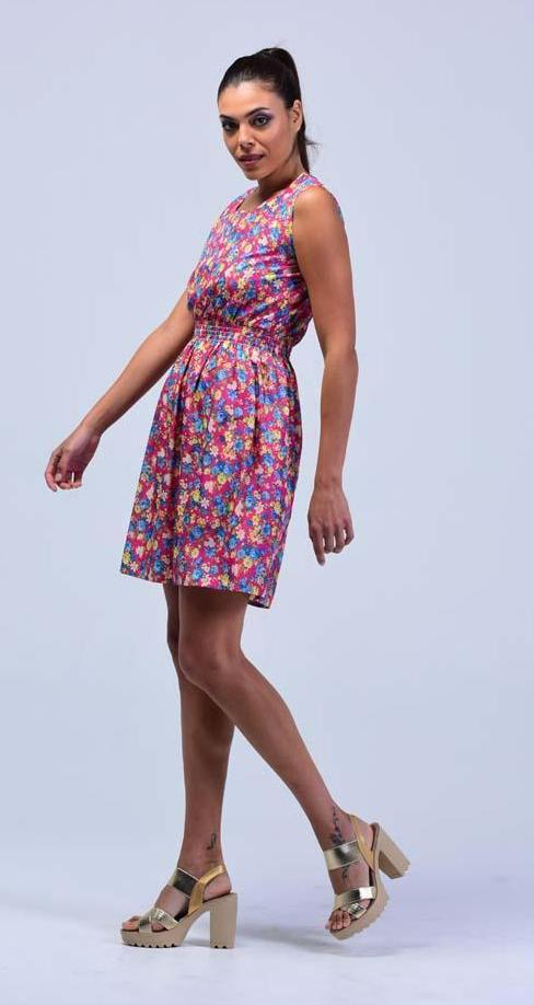 Rouge Pink Retro Style English Blossoms Skater  Dress - Women Dresses - yz-buyer.myshopify.com