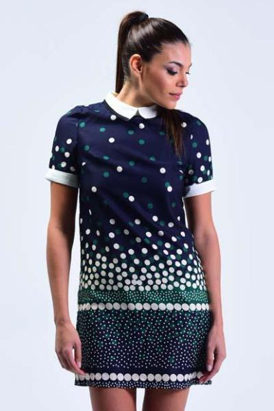 Zimmur Navy with Polka Shift Dress - Women Dresses - yz-buyer.myshopify.com