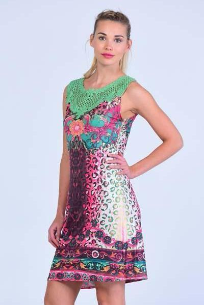 Emerald Green Crochet Neck Embellished Shift Dress - Women Dresses - yz-buyer.myshopify.com