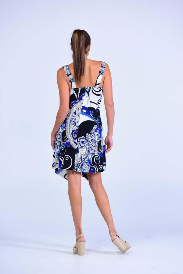 La Bella Cobalt Blue & White Abstract Print Swing dress - Women Dresses - yz-buyer.myshopify.com