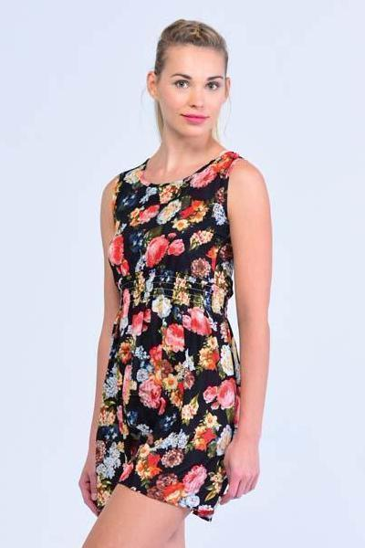 Black Peony Floral Print Skater Dress - Women Dresses - yz-buyer.myshopify.com