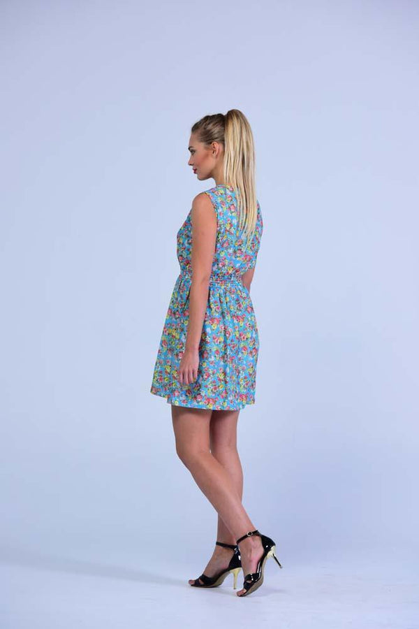 Sky Blue Retro Style Sleeveless English Blossoms  Skater Dress - Women Dresses - yz-buyer.myshopify.com