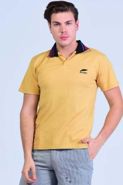 Yz-Guy Polo-Neck Sports T-Shirt - Rattan Yellow with Tri-Color Collar - Men T-Shirts - yz-buyer.myshopify.com
