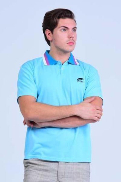 Yz-Guy Polo neck Sports T-Shirt - Arctic Blue with Tri-Color collar - Men T-Shirts - yz-buyer.myshopify.com