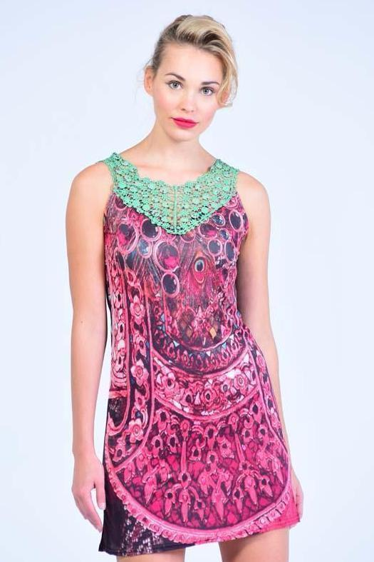 Jade Green  & Fuscia Crochet Neck Shift Dress - Women Dresses - yz-buyer.myshopify.com