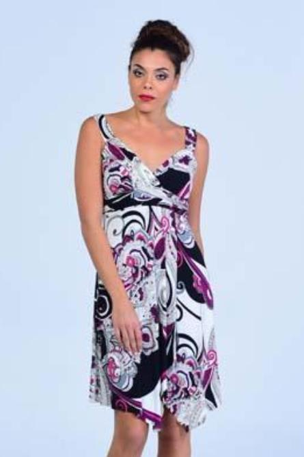 La Bella Ivory Abstract Print High Slit Dress - Women Dresses - yz-buyer.myshopify.com