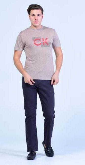 Everyday wear light Crew Neck T-Shirt - Chestnut Brown with Cranberry Red Prints - Men T-Shirts - yz-buyer.myshopify.com