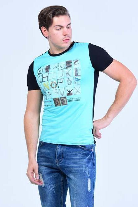 N-6 Jeans Crew Neck Printed Short Sleeve Graphic Tees - Electric Blue - Men T-Shirts - yz-buyer.myshopify.com