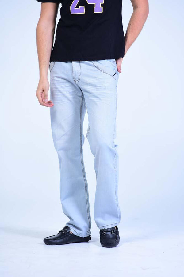 Straight Cut Jeans - Sky Blue Stone Washed - Mens Jeans - yz-buyer.myshopify.com