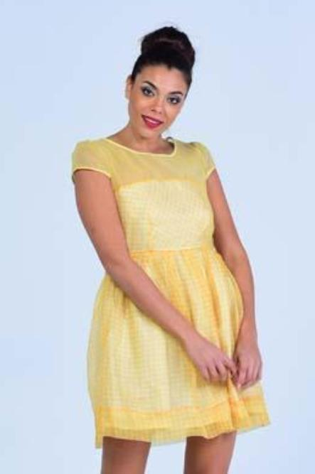 Mango Yellow  Short Sleeve Plaid Skater Dress - Women Dresses - yz-buyer.myshopify.com