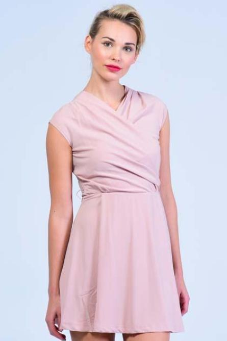 Salmon Pink Cross Shoulders Skater Dress - Women Dresses - yz-buyer.myshopify.com