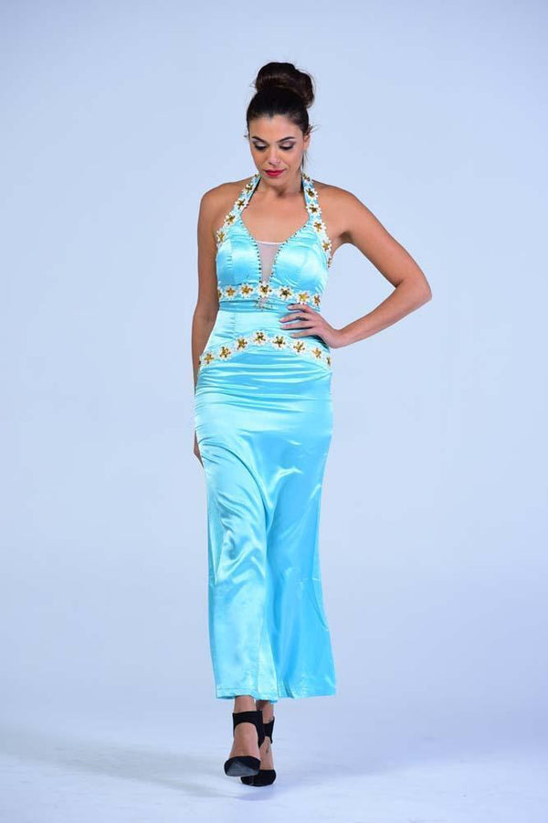 Sky Blue Plunging Neck Wiggle Gown - Women Dresses - yz-buyer.myshopify.com