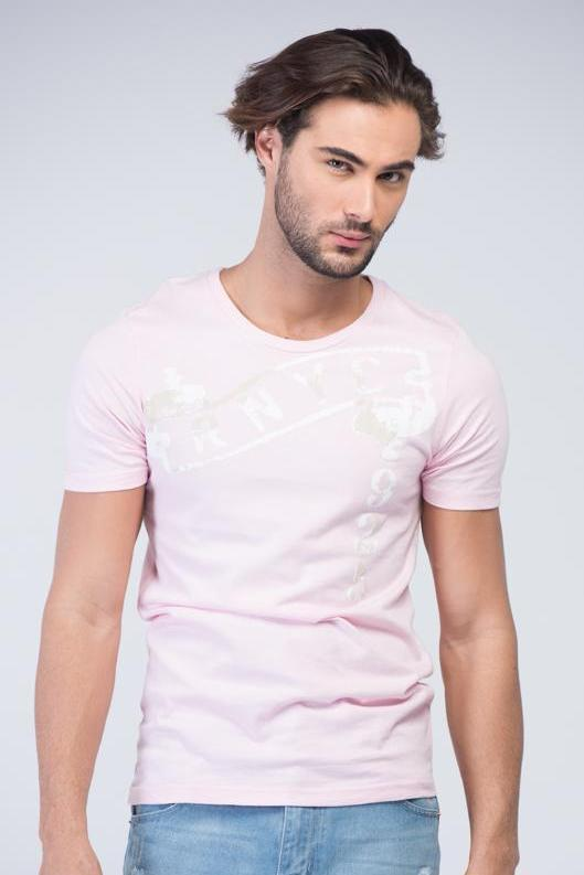 Yz-Guy Crew Neck T-Shirt with Short Sleeves - Blush Pink with White & Mud Prints - Men T-Shirts - yz-buyer.myshopify.com