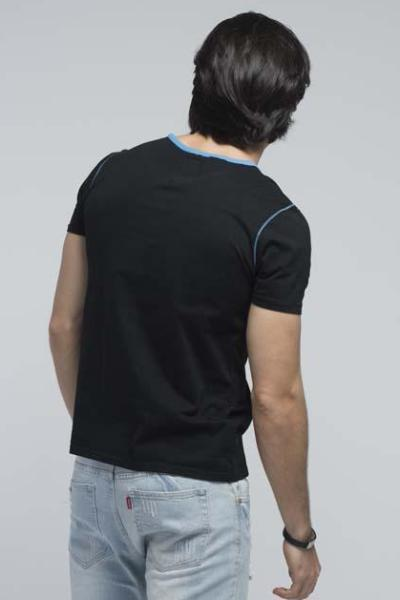 Yz-Guy Crew Neck T-Shirt with Short Sleeves - Jet Black with Blue Lapis Prints - Men T-Shirts - yz-buyer.myshopify.com