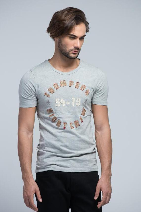 Yz-Guy Crew Neck T-Shirt with Short Sleeves - Cloud Grey with patchwork. - Men T-Shirts - yz-buyer.myshopify.com