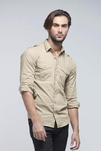 Casual Full Sleeve Shirt - Khaki - Men Shirts - yz-buyer.myshopify.com