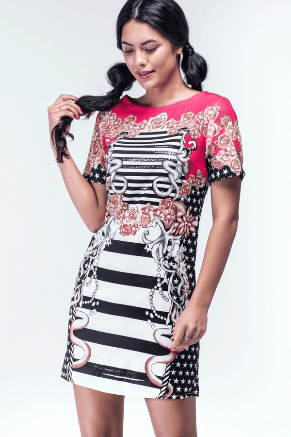 Alexander Fuscia Pink Graphic Shift dress