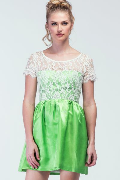 5f2918080a05 Neon Green Gentle White Lace Bodice Skater dress - Women Dresses - yz-buyer.