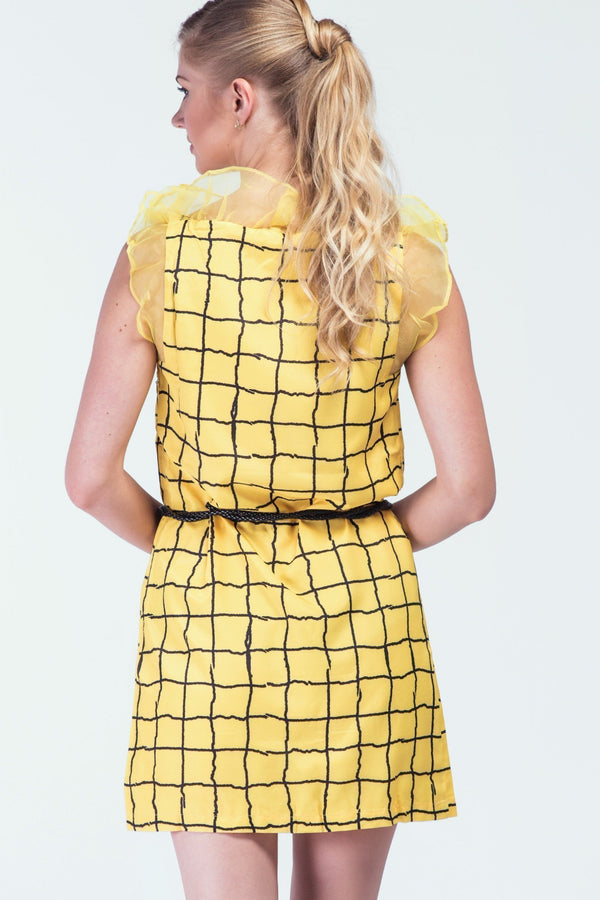 'City Chic' Yellow Check Shift Dress - Women Dresses - yz-buyer.myshopify.com