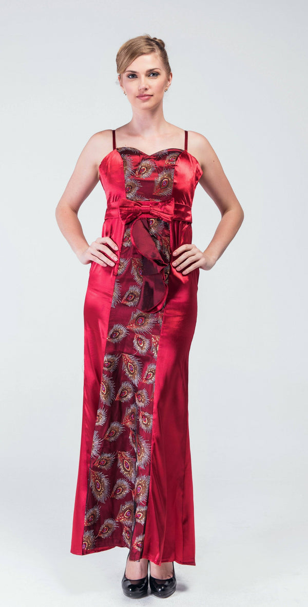 Red Maroon Embellished Feathers Tulle& Satin Evening Gown - Women Dresses - yz-buyer.myshopify.com