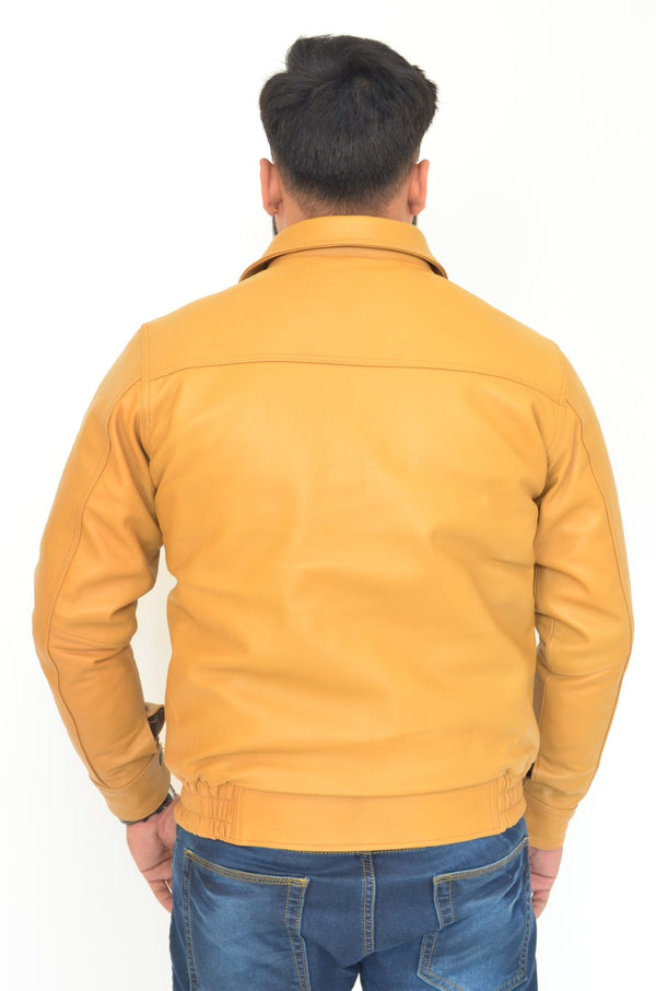 YZBuyer Racer Style Pure Leather Jacket - Yellow