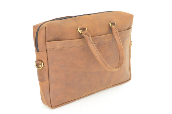 YZBuyer 100% Pure Leather Laptop Bag - Tan