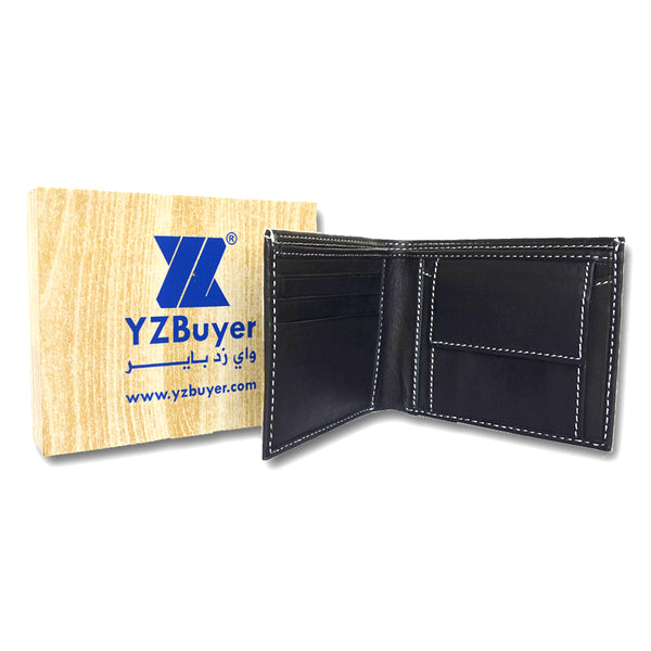 Black Leather Two-Fold Wallet for Men
