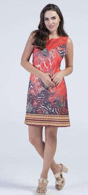 Crimson Peacock Feather Tunic dress