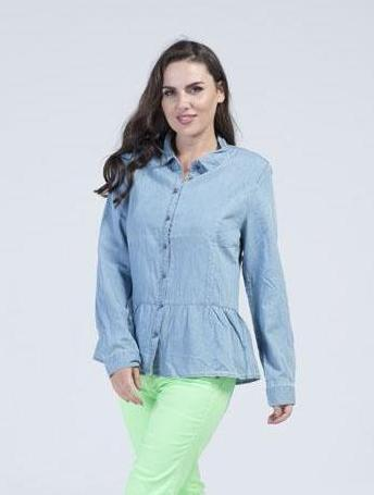 Long sleeve crystal studded collar Jeans shirt with steel ball buttons - Sky Blue