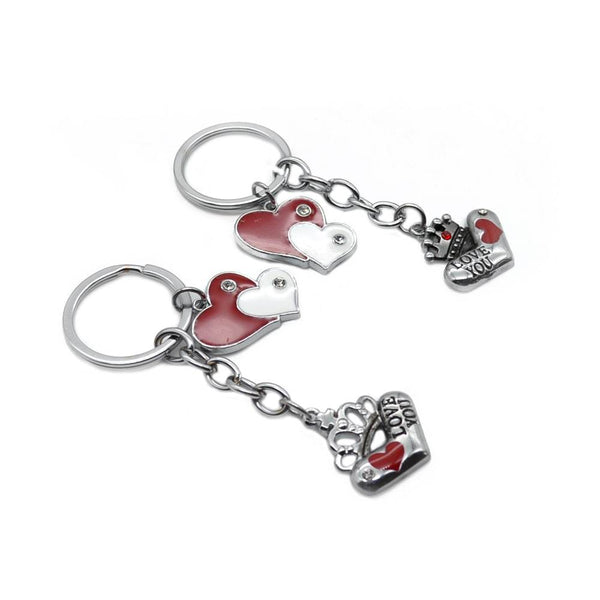 Double heart metal keyring/ keychain Set of 2 Keyrings