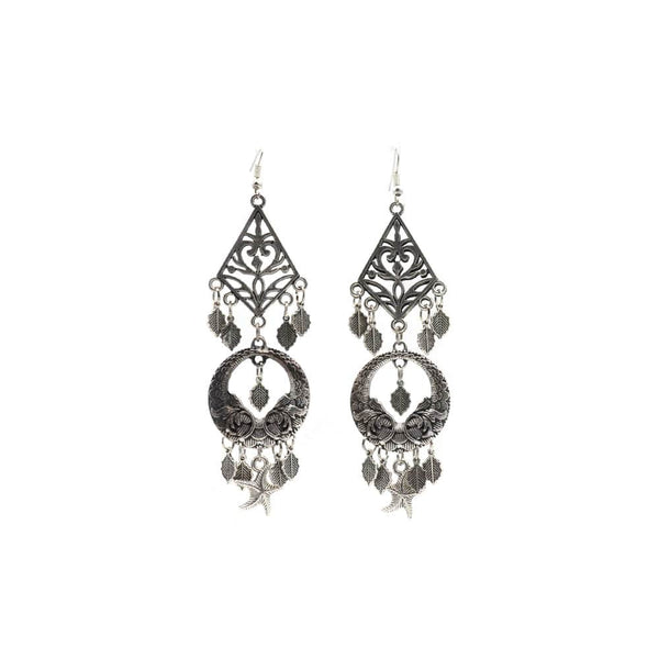 Elegant Oxidised Layered Earring