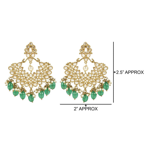 Ethnic Antique Gold Plated Chand Bali Style Earrings